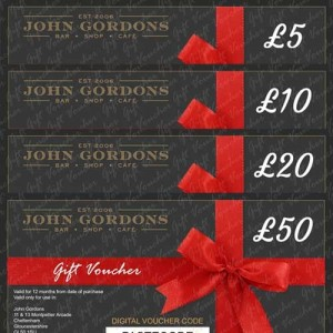 JOHN GORDONS GIFT VOUCHERS FROM £5 TO £50